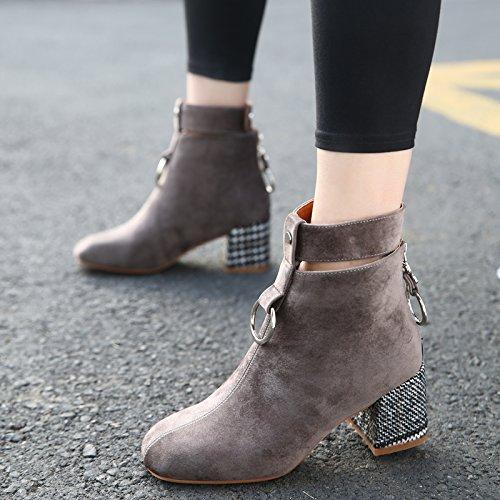 KHSKX-Folk Estilo Retro Zapatos Botas De Mujer Con Botas De Terciopelo Grueso Redondo Martin Botas Zapatos De HebillaTreinta Y SieteKhaki