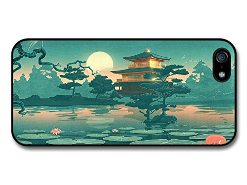 Water Lilies Lake Japanese House Cool Style Landscape coque pour iPhone 5 5S