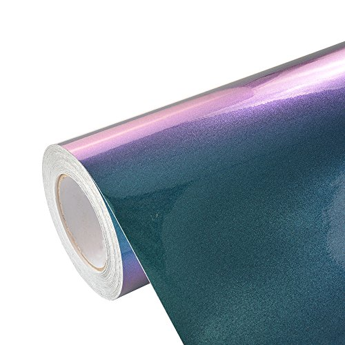 VINYL FROG Glossy Metallic Chameleon Purple-Blue Vehicle Car Vinyl Wrap Stretchable Air Release DIY Decoration 11.8
