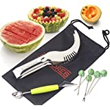 The Sapores MelonEssentials - 304 Stainless Steel Watermelon Melon Cutter Slicer Corer Server Knife, Melon Baller Scoop, 5 Fruit Forks and Storage Pouch