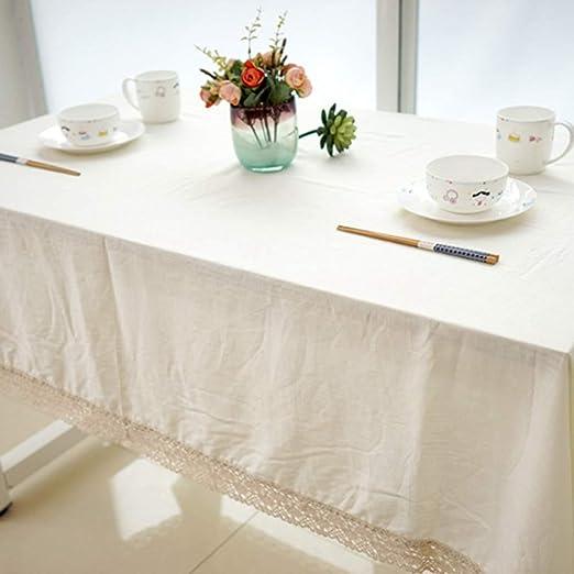 Manteles, Plaza Moderna Mantel Blanco Agujereado Edge Diseño De Encaje De Algodón Y Lino Parte Exterior Cubierta De Mantel, Límpiela Gran Mantel, Utilizado Para La Tabla De Cocina Buffet Decoraci: Amazon.es: Amazon.es