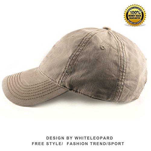100% Cotton Baseball Cap Unisex Plain Hat with Adjustable Velcro (Khaki)