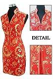 Coac3 Burgundy Traditional Chinese Dress Women's Satin V-Neck Mini Cheongsam Qipao Size S M L XL XXL XXXL Red XXL