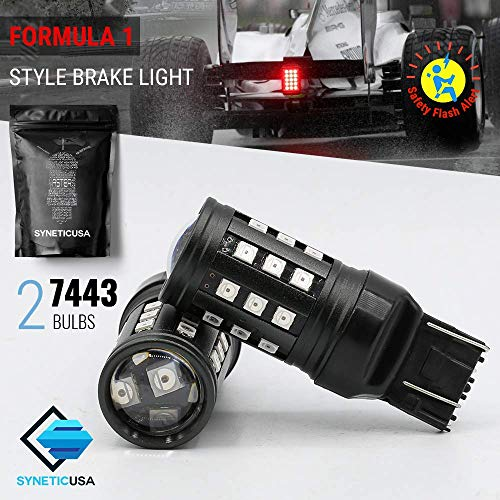 Red Flashing Strobe Blinking Rear Alert Safety Brake Tail Stop High Power LED Light Bulbs (7443)