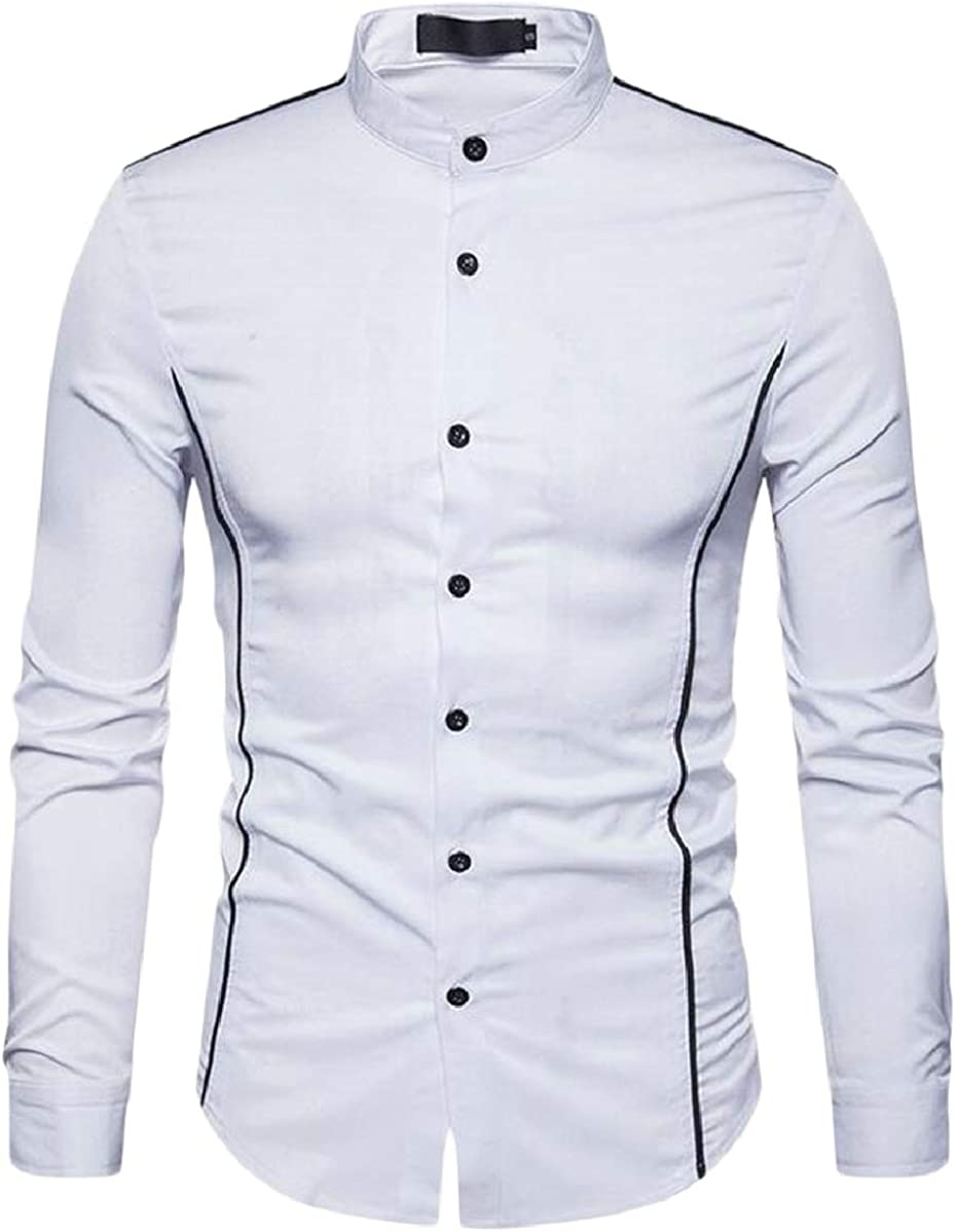 YIhujiuben Mens Fashion Stand Neck Long Sleeve Solid Button Down Casual Shirts