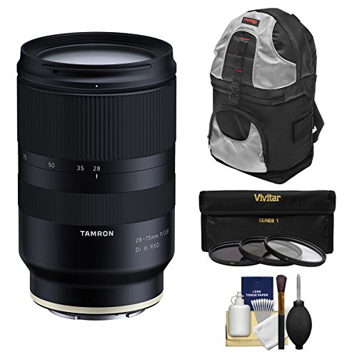 Tamron 28-75mm f/2.8 Di III RXD Zoom Lens with Backpack + 3 Filters + Kit for Sony Alpha FE E-Mount Cameras