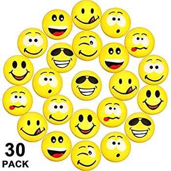 10 Smile Smiley Face Bouncy Squeeze Foam Sponge Ball Stress Relief Toys Loot