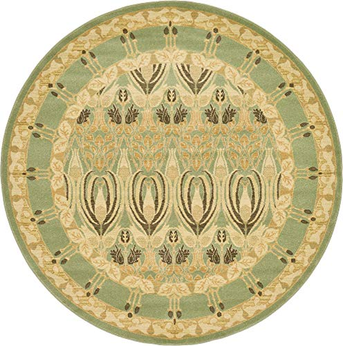 Unique Loom Edinburgh Collection Oriental Traditional French Country Light Green Round Rug (6' 0 x 6' 0)