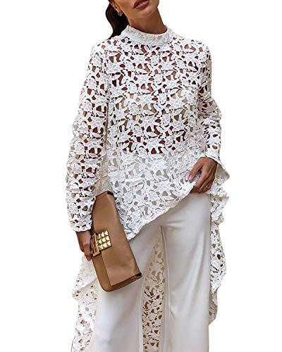 AUDATE Women's Sexy Lace Hollow Out Asymmetrical High Low Hem Shirt Dress Blouse Top White M