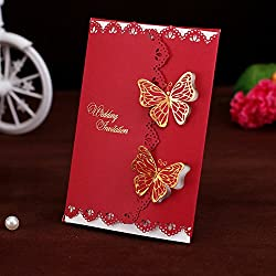 50-Packed Elegant Two Butterflies Invitations Cards Kit Printable for Wedding Bridal Shower with Envelopes and Seal Sticker (Red)