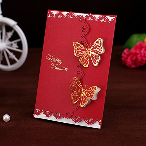 50-Packed Elegant Two Butterflies Invitations Cards Kit Printable for Wedding Bridal Shower with Envelopes and Seal Sticker (Red) for $<!--$51.99-->