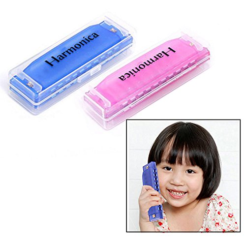 OFKPO 2 PCS Colorful 10 Holes Children Plastic Harmonica Translucent Tuned Musical Educational Toys (Blue And Rose Red)