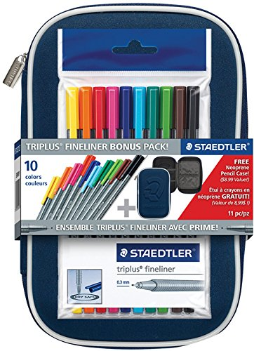Staedtler Triplus Fineliner Pen Assorted Colors with Case: 10-color Set (Limited Edition) (Triangular Pen Shaped Metal)
