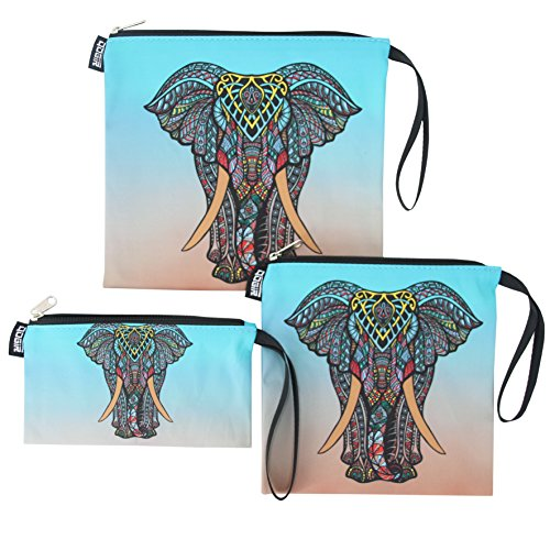 QOGiR Reusable Snack Bags and Sandwich Bags with Handle (Elephant Set of 3)