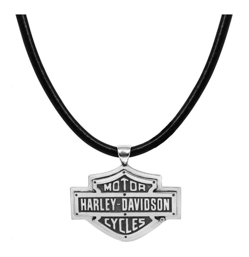Harley-Davidson Men's Necklace, Rivets Bar & Shield Logo, Leather Cord HDN0318