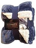 Life Comfort Ultimate Sherpa Throw Blanket, Slate Blue