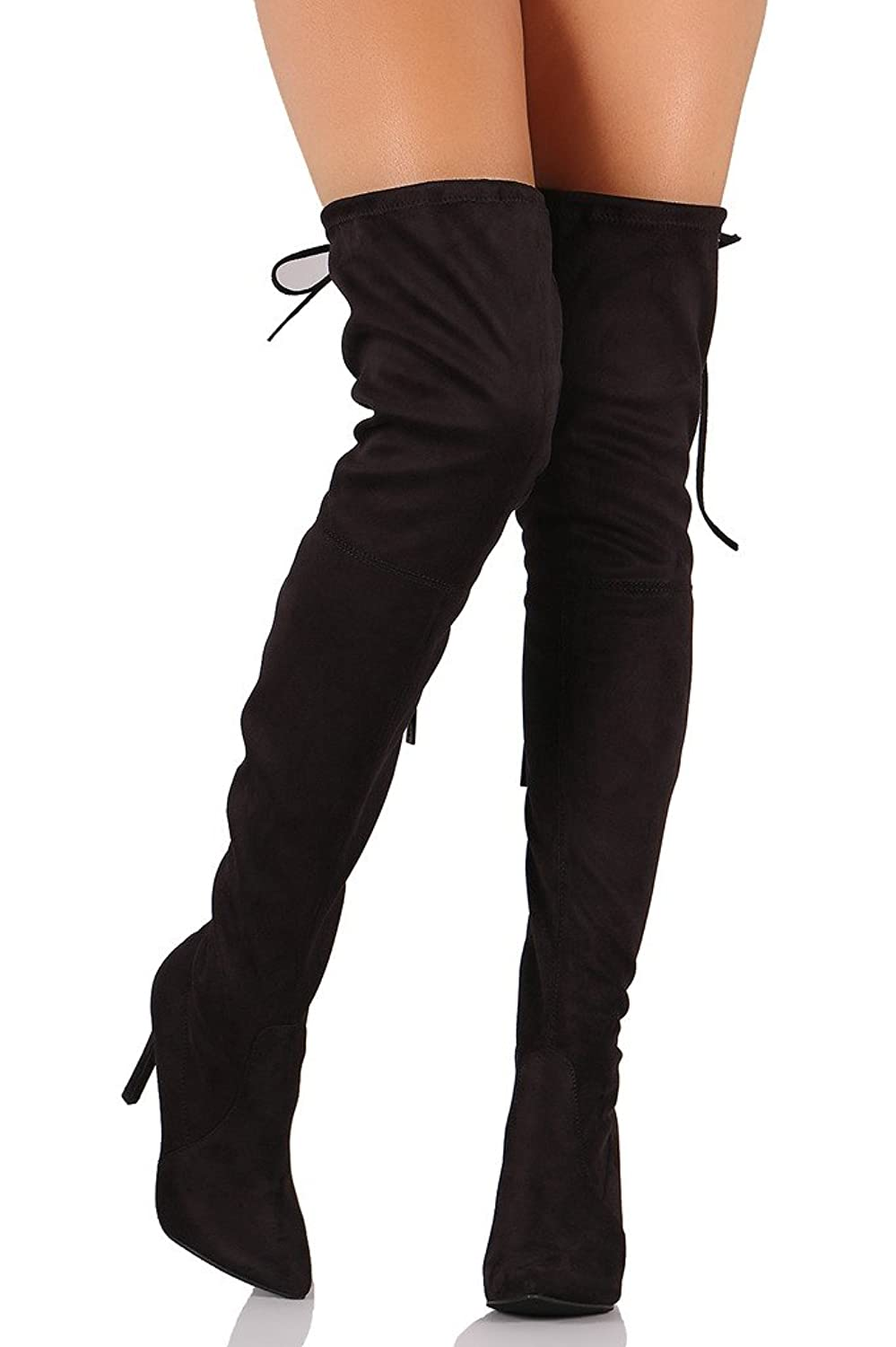Women's AM12 Thigh High Over The Knee - Drawstring Block Chunky Heel Pointy Round Toe - Stretchy Thigh High Snug Fit Boots