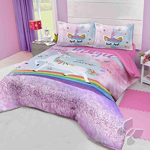 JORGE'S HOME FASHION INC NEW PRETTY COLLECTION DREAM MAGIC LOVE UNICORN TEENS GIRLS REVERSIBLE COMFORTER SET 2 PCS TWIN SIZE