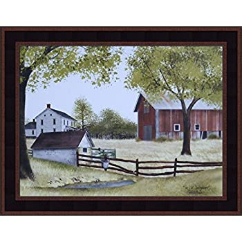Home Cabin Décor The Old Springhouse by Billy Jacobs 15x19 Farmhouse Barn Well Country Primitive Folk Art Framed Picture