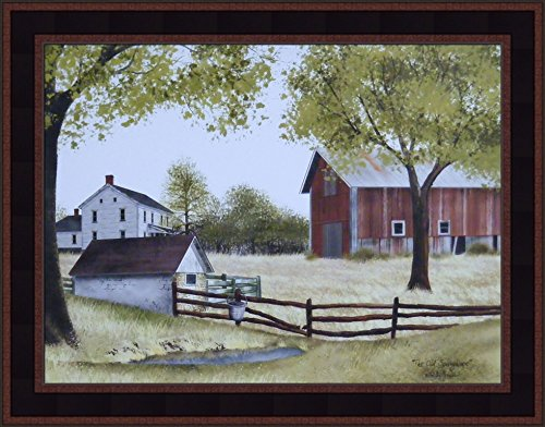 (Home Cabin Décor The Old Springhouse by Billy Jacobs 15x19 Farmhouse Barn Well Country Primitive Folk Art Framed Picture)