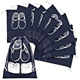 Promover Travel Shoe Bags Set of 8 Dust-proof Storage Bags Portable Drawstring Closure Clear Window for Men Women(Navy Blue)