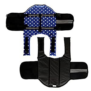 HAOCOO Dog Life Jacket Vest Saver Safety Swimsuit Preserver with Reflective Stripes/Adjustable Belt for All Size Dogs?Blue Polka Dot,XXS