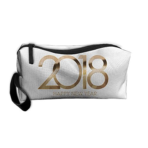 Portable Make-up Receive Bag 2018 Happy New Year Gold Travel&home Storage Bag Zipper Organization Space Saver Canvas Buggy Pouch]()