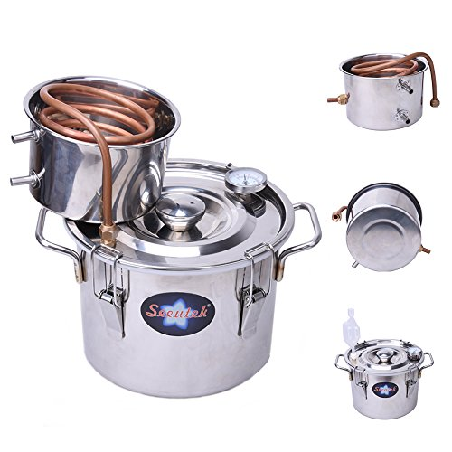 Seeutek Copper Alcohol Moonshine Ethanol Still Spirits Stainless Steel Boiler Water Distiller Wine Making Kit