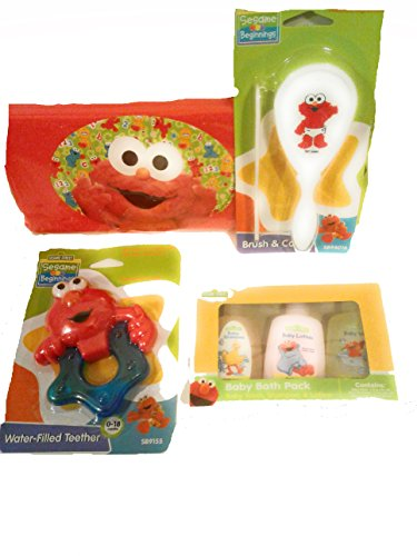 Sesame Street Beginnings Gift Basket Includes Brush & Comb, Baby Wash, Shampoo, & Lotion, Water Filled Teether, & Wipes Travel Case -Bundle of 7 New (Lotion Comb)