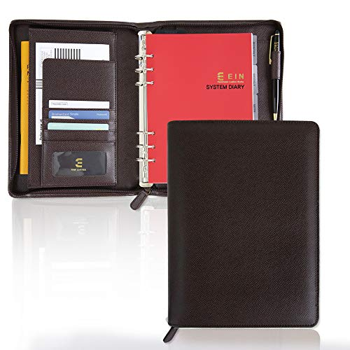 - Synthetic Leather System Diary Zipper Handmade Organizer Planner with Daily Schedule, Users can Create Their own Diaries to Suit Their Tastes Using The Form of six-Hole (Dark Brown)
