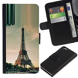 ZONECELL (No Para IPHONE 6 PLUS) Imagen Frontal Negro Cuero Tarjeta Ranura Trasera Funda Carcasa Diseño Tapa Cover Skin Protectora Case Para Apple Iphone 6 4.7 - arquitectura de la torre Eiffel días