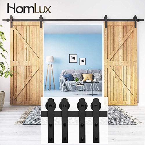 (HomLux 8ft Double Door Heavy Duty Sliding Barn Door Hardware Kit -Smoothly and Quietly - Simple and Easy to Install - Fit 1 3/8-1 3/4