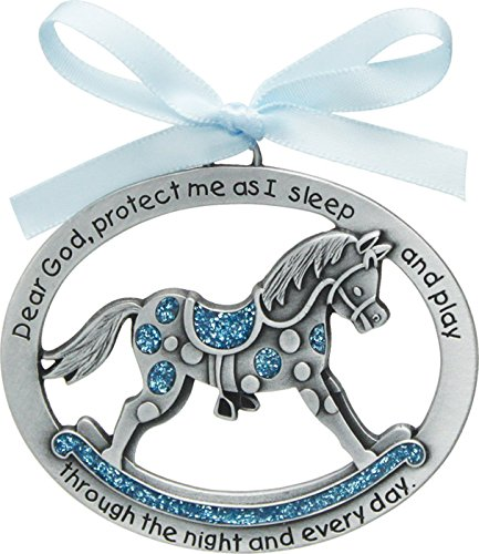 CA Gift CM15B Blue Horse Crib Medal for Jewelry Making, 2-1/2 x 2""
