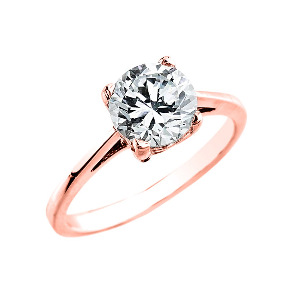 10k Rose Gold Elegant 2.50 Carat Cubic Zirconia Solitaire Engagement Ring (Size 10)