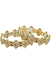 Chamak by priya kakkar Set of 2 Crystal Diamond Shapes Bangle Bracelet, 2.5""