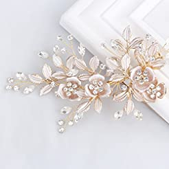 SWEETV Light Rose Gold Wedding Clip Rhin...