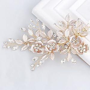 SWEETV Light Rose Gold Wedding Clip Rhinestone Bridal Comb Barrette – Handmade Flower Clip Head Pieces for Women