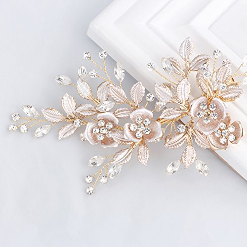 SWEETV Light Rose Gold Wedding Clip Rhinestone Bridal Comb Barrette - Handmade Flower Clip Head Pieces for Women