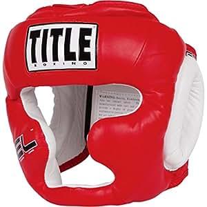 TITLE Gel World Full-Face Training Headgear, Red, Regular