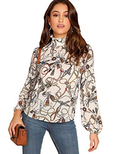 (Romwe Women's Elegant Printed Stand Collar Workwear Blouse Top Shirts Beige Medium)