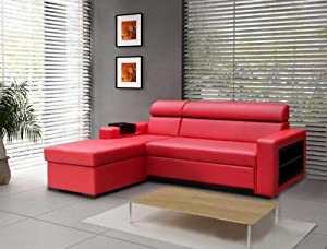 Red faux leather corner sofa bed becky for Sofa bed amazon uk