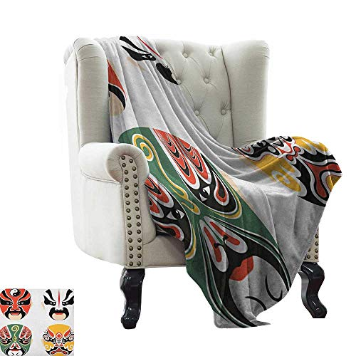LsWOW Blanket as Bedspread Kabuki Mask,Cultural Drama Costumes with Artistic Oriental Masks Ethnic Mystic Details, Multicolor Warm & Hypoallergenic Washable Couch/Bed Throws 50