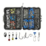 187pcs Fishing Accessories Tackle Box Kit-Including Ball Bearing Swivel with Sturdy Coastlock Snap,Balck Treble Hooks,Colorful Sinker Slides,Stainless Steel Double Split Rings,Circle Hooks,Egg Weights