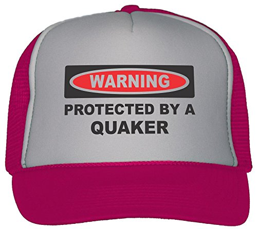 T-ShirtFrenzy Protected By A Quaker Trucker Hat Cap Hot Pink