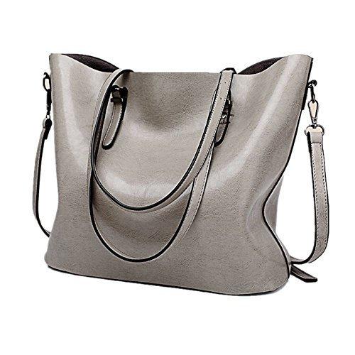 JLCorp, Damen-Handtasche mit Schultergurt, Tragegriff oben, Messenger-Format, mit Reißverschluss Grau