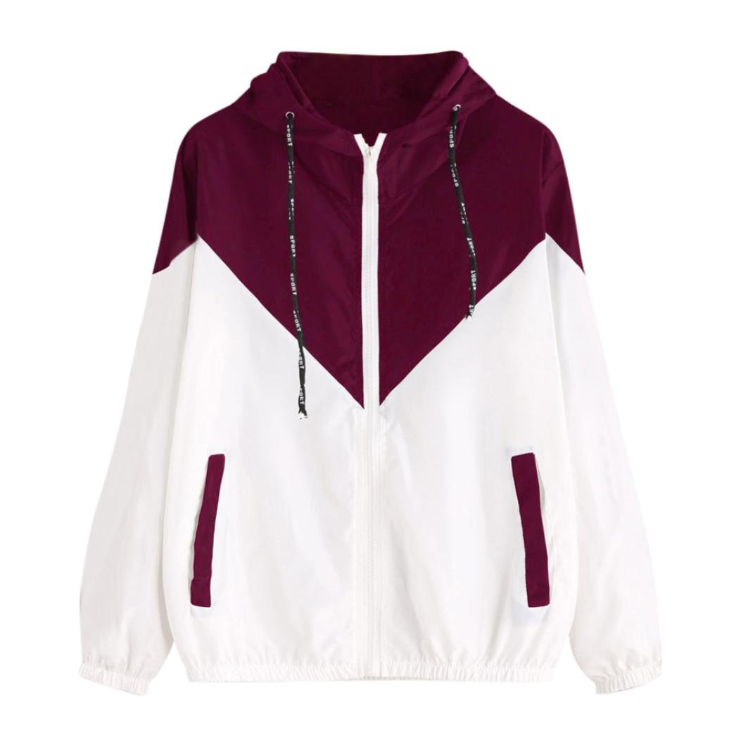 Women Hoodie Jacket,Lelili Warm Three-Color Patchwork Long Sleeve Zip Button Up Pockets Jacket Outwear Coat with Hood (S, Red)