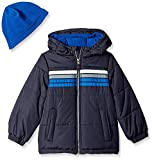 London Fog Boys' Toddler Heavyweight Puffer Jacket with Beanie, Real Blue, 2T