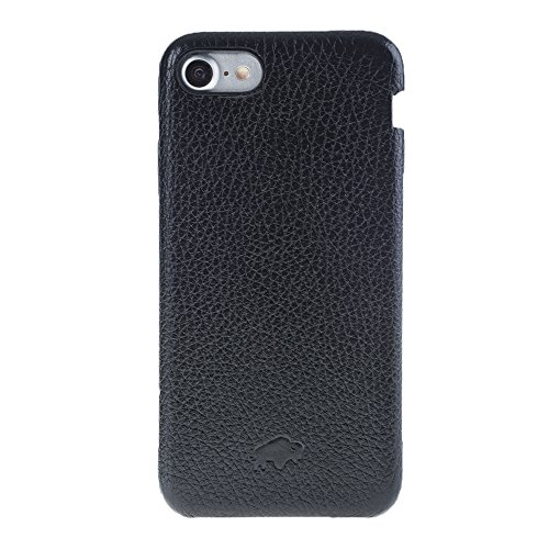 Burkley Case Full Leather Ultra Slim Snap-on Case for Apple iPhone 8/7 | Everyday Luxury Leather Case | Floater Black by Burkley Case