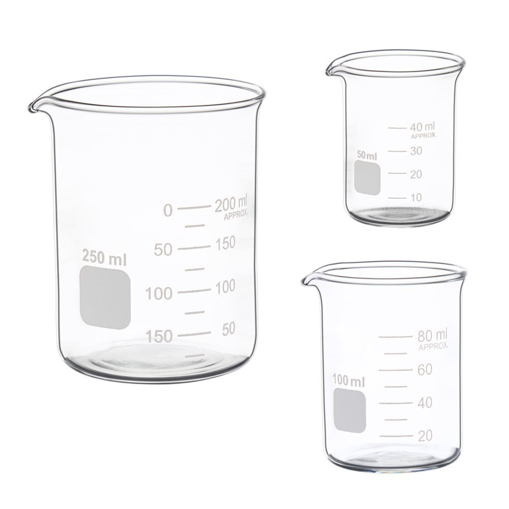 Glass Measuring Low Form Beaker Set 50ml 100ml 250ml Glass Graduated Beaker Set