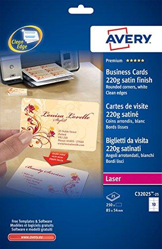 Avery Italia C32025-25 Biglietto da Visita con Angoli Arrotondati, Stampabile Fronte/Retro, 10 Biglietti per Foglio, Confezione da 25 Pezzi, Bianco